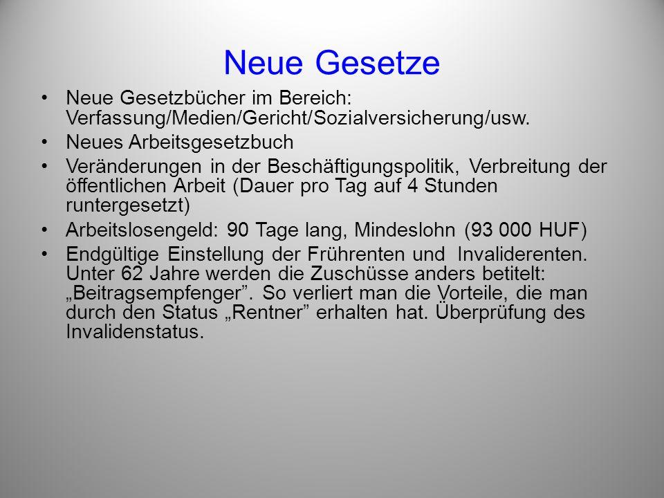 Neue Gesetze Neue Gesetzbücher im Bereich: Verfassung/Medien/Gericht/Sozialversicherung/usw. Neues Arbeitsgesetzbuch Veränderungen in der Beschäftigun