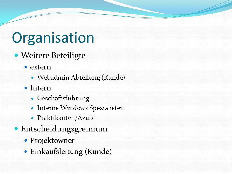Organisation Weitere Beteiligte extern Webadmin Abteilung (Kunde) Intern Geschäftsführung Interne Windows Spezialisten Praktikanten/Azubi Entscheidung