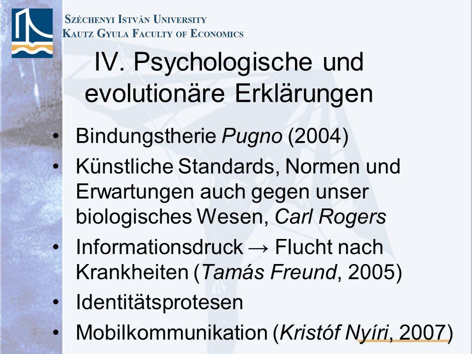 IV. Psychologische und evolutionäre Erklärungen Bindungstherie Pugno (2004) Künstliche Standards, Normen und Erwartungen auch gegen unser biologisches
