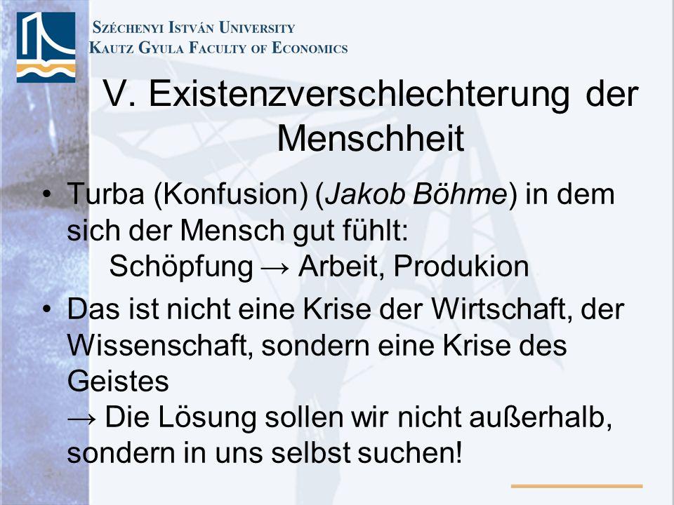 V. Existenzverschlechterung der Menschheit Turba (Konfusion) (Jakob Böhme) in dem sich der Mensch gut fühlt: Schöpfung Arbeit, Produkion Das ist nicht