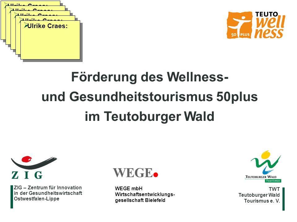 Förderung des Wellness- und Gesundheitstourismus 50plus im Teutoburger Wald TWT Teutoburger Wald Tourismus e. V. ZIG – Zentrum für Innovation in der G