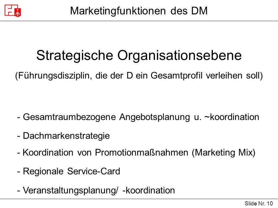 Slide Nr. 10 Marketingfunktionen des DM Strategische Organisationsebene (Führungsdisziplin, die der D ein Gesamtprofil verleihen soll) - Gesamtraumbez