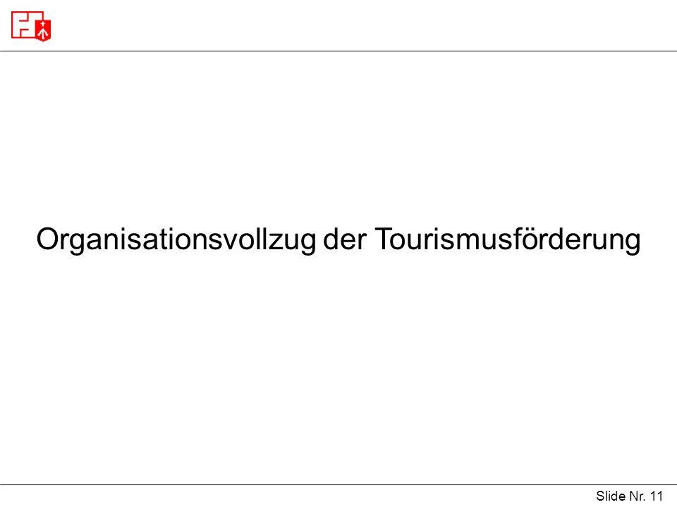 Slide Nr. 11 Organisationsvollzug der Tourismusförderung