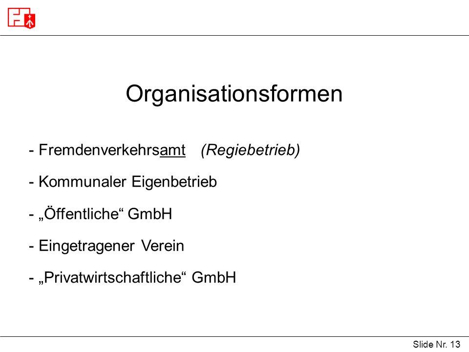 Slide Nr. 13 Organisationsformen - Fremdenverkehrsamt (Regiebetrieb) - Kommunaler Eigenbetrieb - Öffentliche GmbH - Eingetragener Verein - Privatwirts