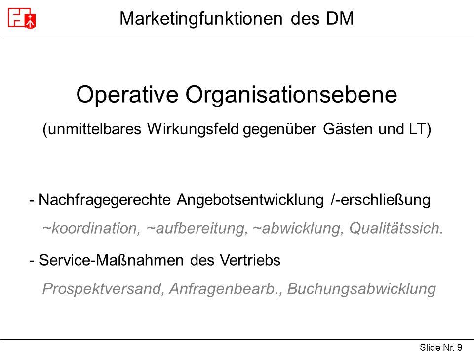 Slide Nr. 9 Marketingfunktionen des DM Operative Organisationsebene (unmittelbares Wirkungsfeld gegenüber Gästen und LT) - Nachfragegerechte Angebotse