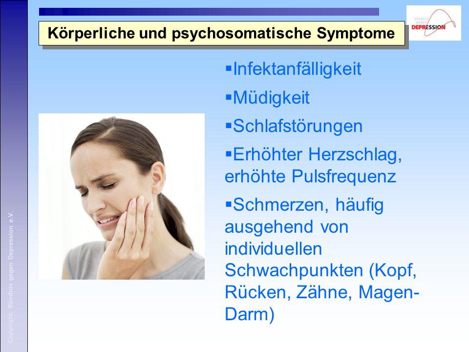 Copyright: Bündnis gegen Depression e.V. Körperliche und psychosomatische Symptome Infektanfälligkeit Müdigkeit Schlafstörungen Erhöhter Herzschlag, e