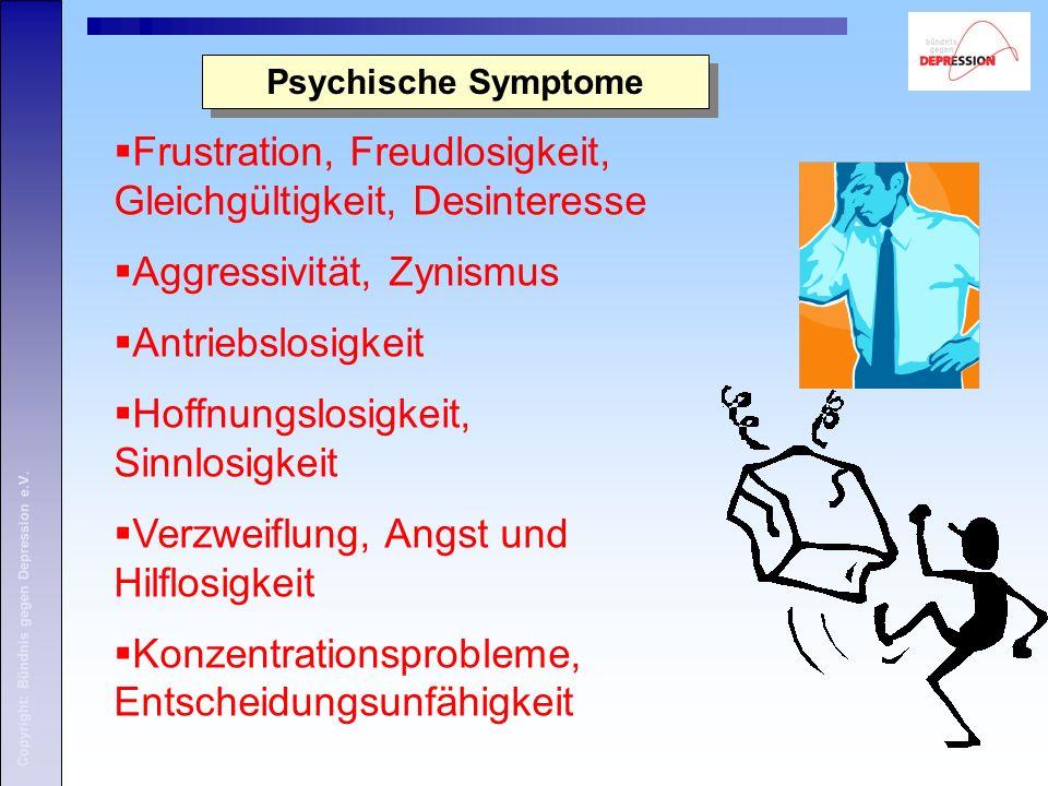 Copyright: Bündnis gegen Depression e.V. Psychische Symptome Frustration, Freudlosigkeit, Gleichgültigkeit, Desinteresse Aggressivität, Zynismus Antri