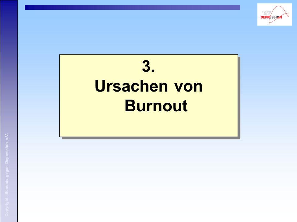 Copyright: Bündnis gegen Depression e.V. 3. Ursachen von Burnout 3. Ursachen von Burnout Copyright: Bündnis gegen Depression e.V.