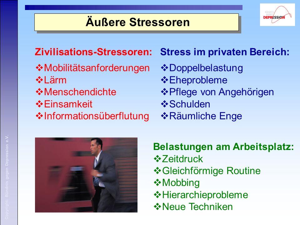 Copyright: Bündnis gegen Depression e.V. Äußere Stressoren Zivilisations-Stressoren: Mobilitätsanforderungen Lärm Menschendichte Einsamkeit Informatio