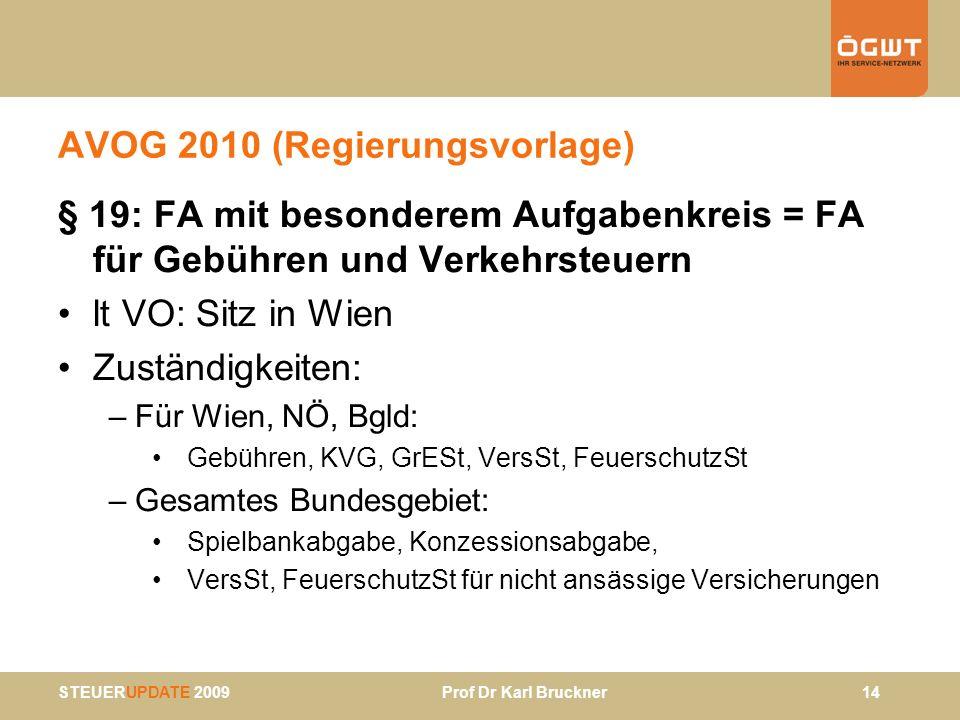 STEUERUPDATE 2009 Prof Dr Karl Bruckner 14 AVOG 2010 (Regierungsvorlage) § 19: FA mit besonderem Aufgabenkreis = FA für Gebühren und Verkehrsteuern lt