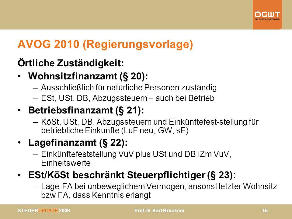 STEUERUPDATE 2009 Prof Dr Karl Bruckner 15 AVOG 2010 (Regierungsvorlage) Örtliche Zuständigkeit: Wohnsitzfinanzamt (§ 20): –Ausschließlich für natürli