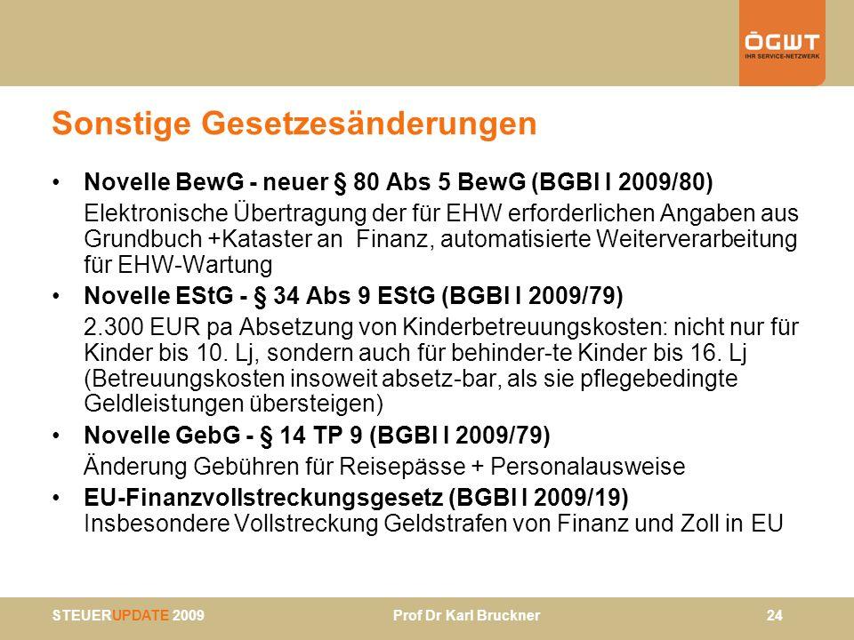 STEUERUPDATE 2009 Prof Dr Karl Bruckner 24 Sonstige Gesetzesänderungen Novelle BewG - neuer § 80 Abs 5 BewG (BGBl I 2009/80) Elektronische Übertragung