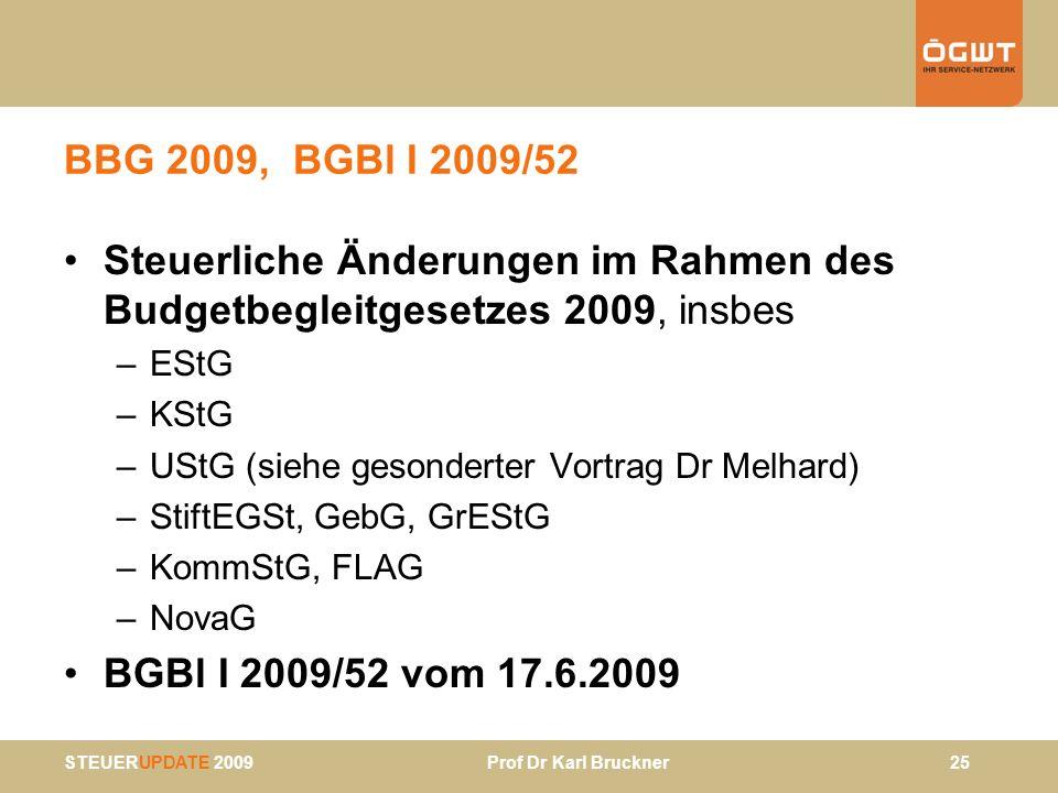 STEUERUPDATE 2009 Prof Dr Karl Bruckner 25 BBG 2009, BGBl I 2009/52 Steuerliche Änderungen im Rahmen des Budgetbegleitgesetzes 2009, insbes –EStG –KSt