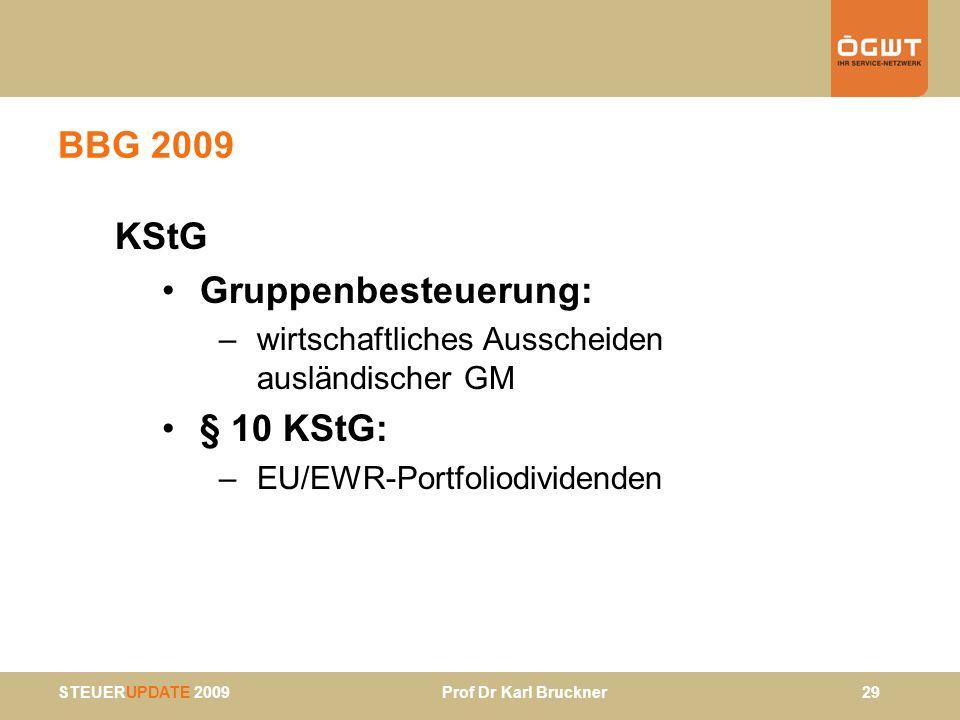STEUERUPDATE 2009 Prof Dr Karl Bruckner 29 BBG 2009 KStG Gruppenbesteuerung: –wirtschaftliches Ausscheiden ausländischer GM § 10 KStG: –EU/EWR-Portfol