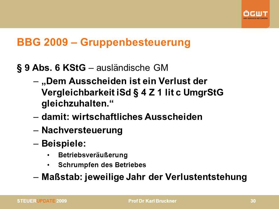 STEUERUPDATE 2009 Prof Dr Karl Bruckner 30 BBG 2009 – Gruppenbesteuerung § 9 Abs. 6 KStG – ausländische GM –Dem Ausscheiden ist ein Verlust der Vergle