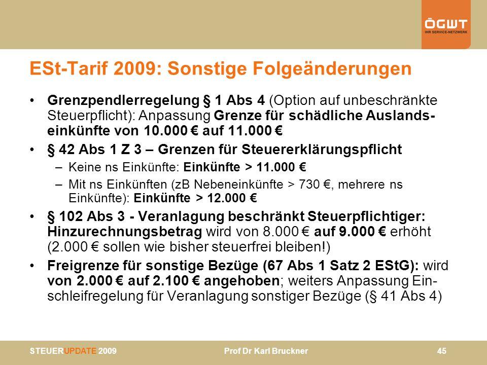 STEUERUPDATE 2009 Prof Dr Karl Bruckner 45 ESt-Tarif 2009: Sonstige Folgeänderungen Grenzpendlerregelung § 1 Abs 4 (Option auf unbeschränkte Steuerpfl