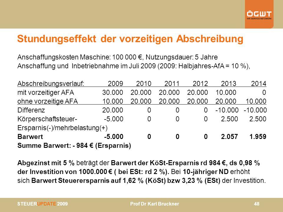 STEUERUPDATE 2009 Prof Dr Karl Bruckner 48 Stundungseffekt der vorzeitigen Abschreibung Anschaffungskosten Maschine: 100 000, Nutzungsdauer: 5 Jahre A