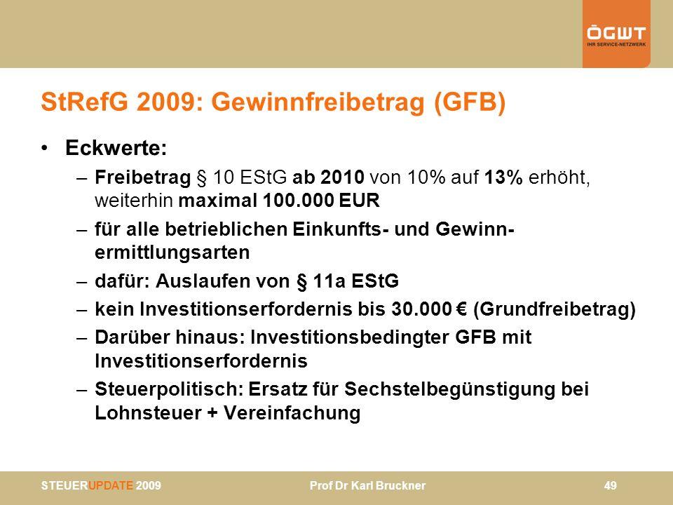 STEUERUPDATE 2009 Prof Dr Karl Bruckner 49 StRefG 2009: Gewinnfreibetrag (GFB) Eckwerte: –Freibetrag § 10 EStG ab 2010 von 10% auf 13% erhöht, weiterh
