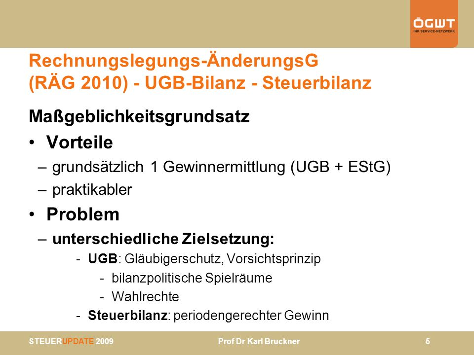 STEUERUPDATE 2009 Prof Dr Karl Bruckner 6 RÄG 2010 - Reformüberlegung verstärkte Maßgeblichkeit - Anknüpfung an UGB-Bilanz - Abweichungen in zB § 6 EStG neu - Voraussetzungen: - UGB-Bilanz: Wahlrechte einschränken - RÄG 2010 - Begriffe vereinheitlichen wie zB - Vermögensgegenstand – Wirtschaftsgut - beizulegender Wert – Teilwert