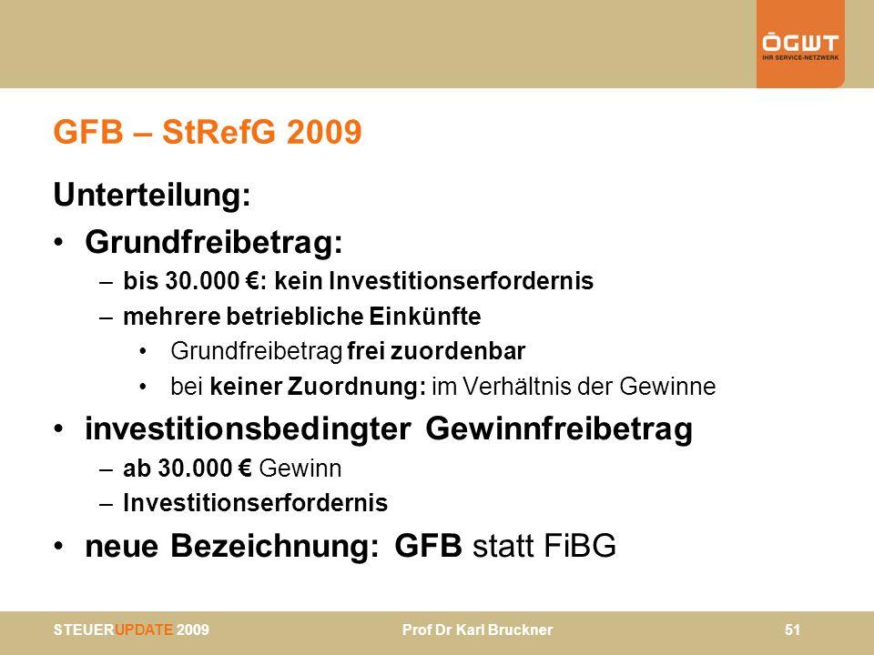 STEUERUPDATE 2009 Prof Dr Karl Bruckner 51 GFB – StRefG 2009 Unterteilung: Grundfreibetrag: –bis 30.000 : kein Investitionserfordernis –mehrere betrie