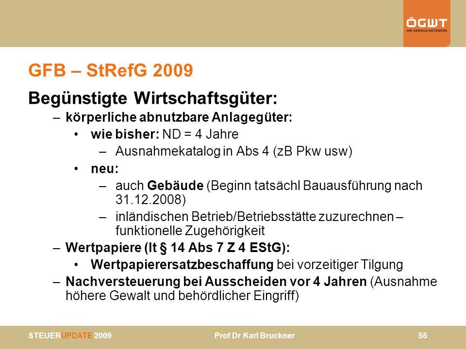 STEUERUPDATE 2009 Prof Dr Karl Bruckner 55 GFB – StRefG 2009 Begünstigte Wirtschaftsgüter: –körperliche abnutzbare Anlagegüter: wie bisher: ND = 4 Jah
