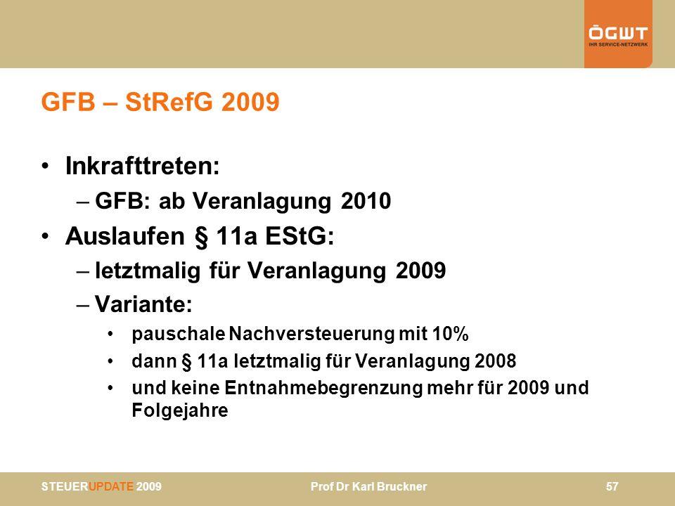 STEUERUPDATE 2009 Prof Dr Karl Bruckner 57 GFB – StRefG 2009 Inkrafttreten: –GFB: ab Veranlagung 2010 Auslaufen § 11a EStG: –letztmalig für Veranlagun