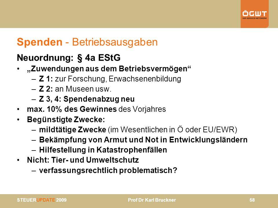 STEUERUPDATE 2009 Prof Dr Karl Bruckner 58 Spenden - Betriebsausgaben Neuordnung: § 4a EStG Zuwendungen aus dem Betriebsvermögen –Z 1: zur Forschung,