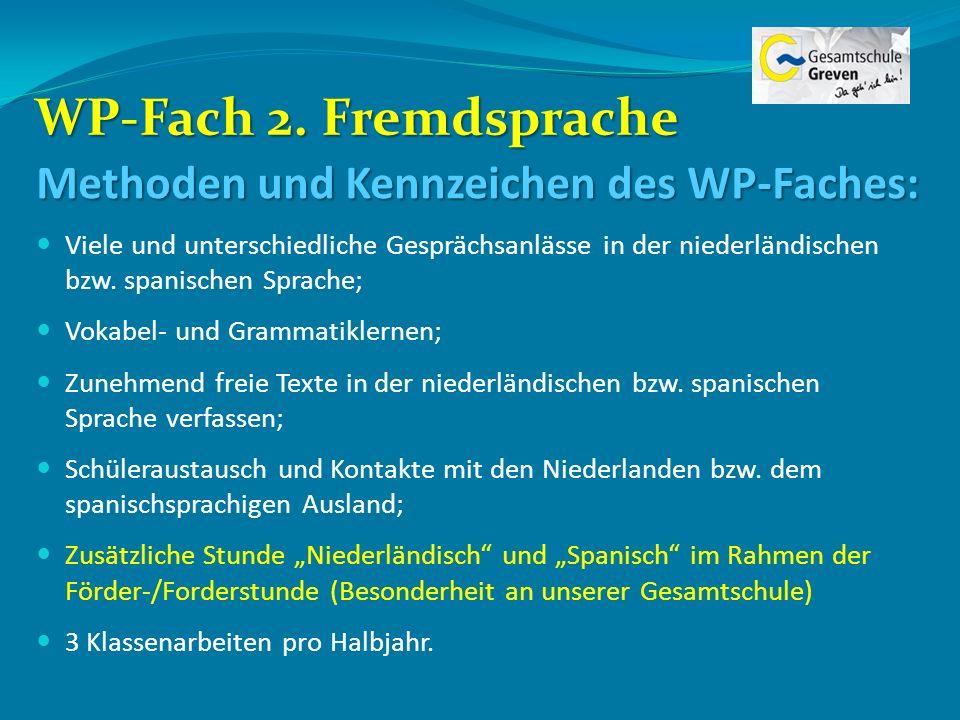 WP-Fach 2. Fremdsprache Methoden und Kennzeichen des WP-Faches: Viele und unterschiedliche Gesprächsanlässe in der niederländischen bzw. spanischen Sp