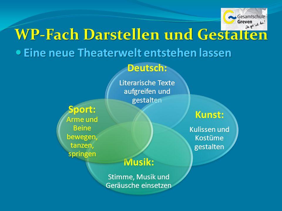 WP-Fach Darstellen und Gestalten Eine neue Theaterwelt entstehen lassen Eine neue Theaterwelt entstehen lassen Deutsch: Literarische Texte aufgreifen