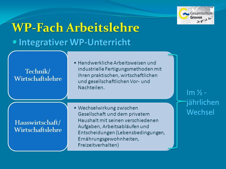 WP-Fach Arbeitslehre Integrativer WP-Unterricht Integrativer WP-Unterricht Handwerkliche Arbeitsweisen und industrielle Fertigungsmethoden mit ihren p