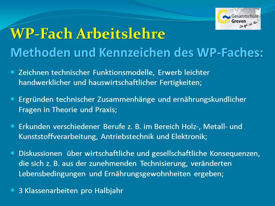 WP-Fach Arbeitslehre Methoden und Kennzeichen des WP-Faches: Zeichnen technischer Funktionsmodelle, Erwerb leichter handwerklicher und hauswirtschaftl