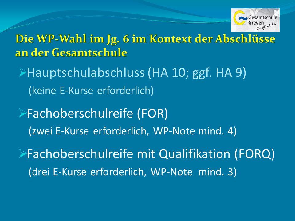 Die WP-Wahl im Jg. 6 im Kontext der Abschlüsse an der Gesamtschule Hauptschulabschluss (HA 10; ggf. HA 9) (keine E-Kurse erforderlich) Fachoberschulre