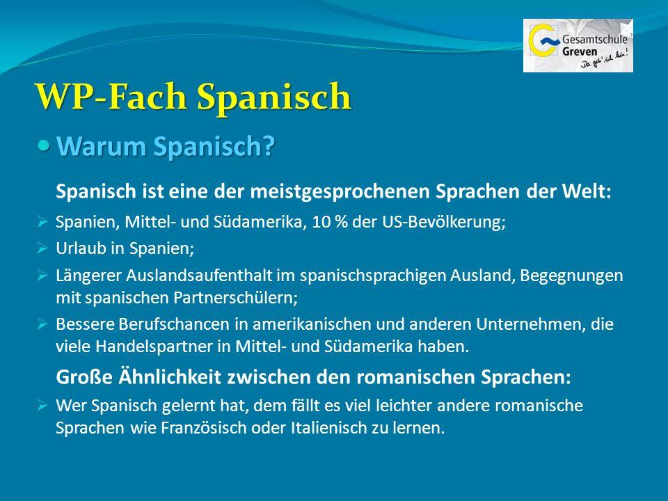 WP-Fach Spanisch Warum Spanisch? Warum Spanisch? Spanisch ist eine der meistgesprochenen Sprachen der Welt: Spanien, Mittel- und Südamerika, 10 % der