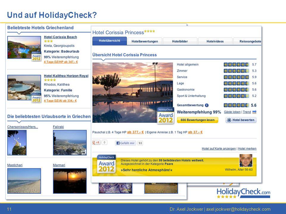 11Dr. Axel Jockwer | axel.jockwer@holidaycheck.com Und auf HolidayCheck?