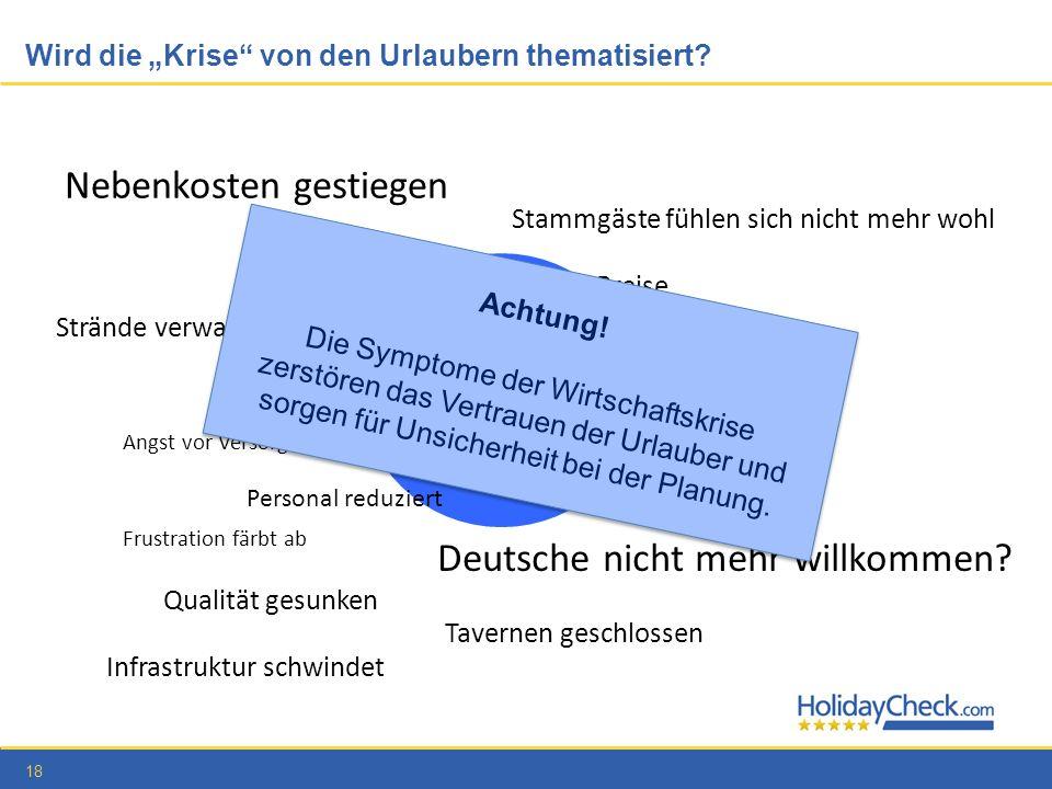 18 Wird die Krise von den Urlaubern thematisiert? Nebenkosten gestiegen Mehrwertsteuer treibt Preise Frustration färbt ab Deutsche nicht mehr willkomm