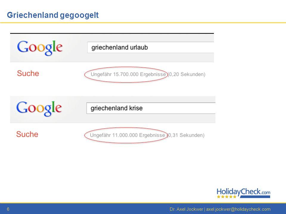 6Dr. Axel Jockwer | axel.jockwer@holidaycheck.com Griechenland gegoogelt