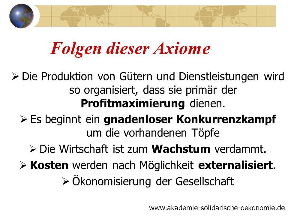 Folgen dieser Axiome Die Produktion von Gütern und Dienstleistungen wird so organisiert, dass sie primär der Profitmaximierung dienen. Es beginnt ein