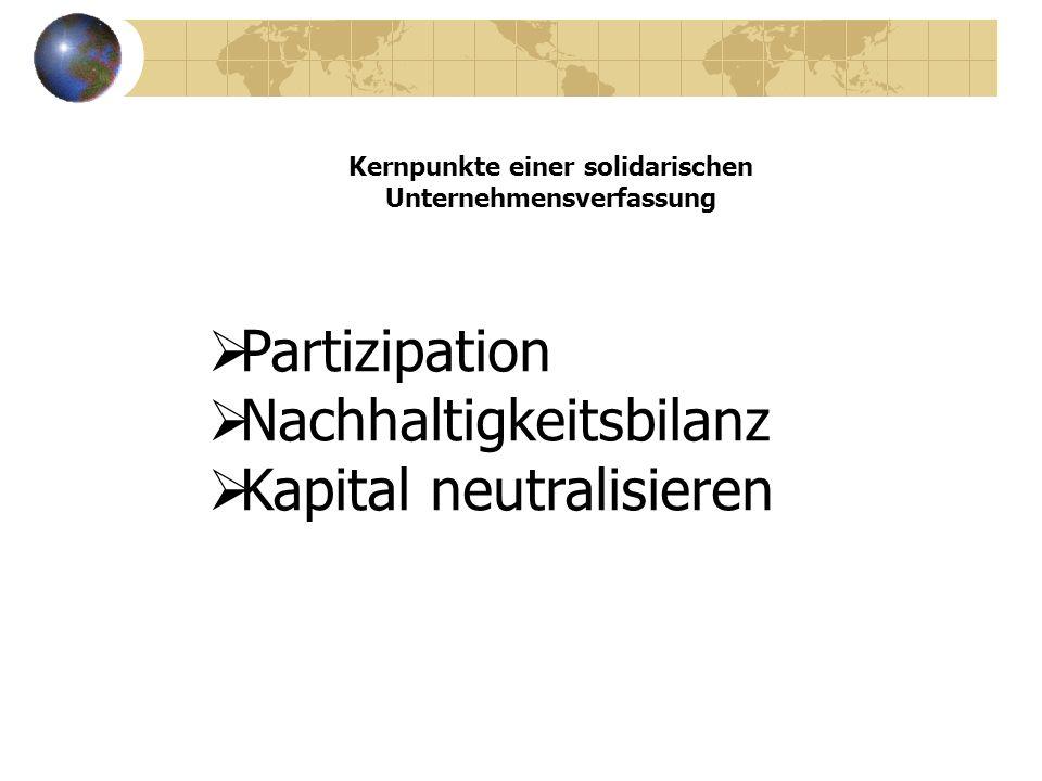 Kernpunkte einer solidarischen Unternehmensverfassung Partizipation Nachhaltigkeitsbilanz Kapital neutralisieren