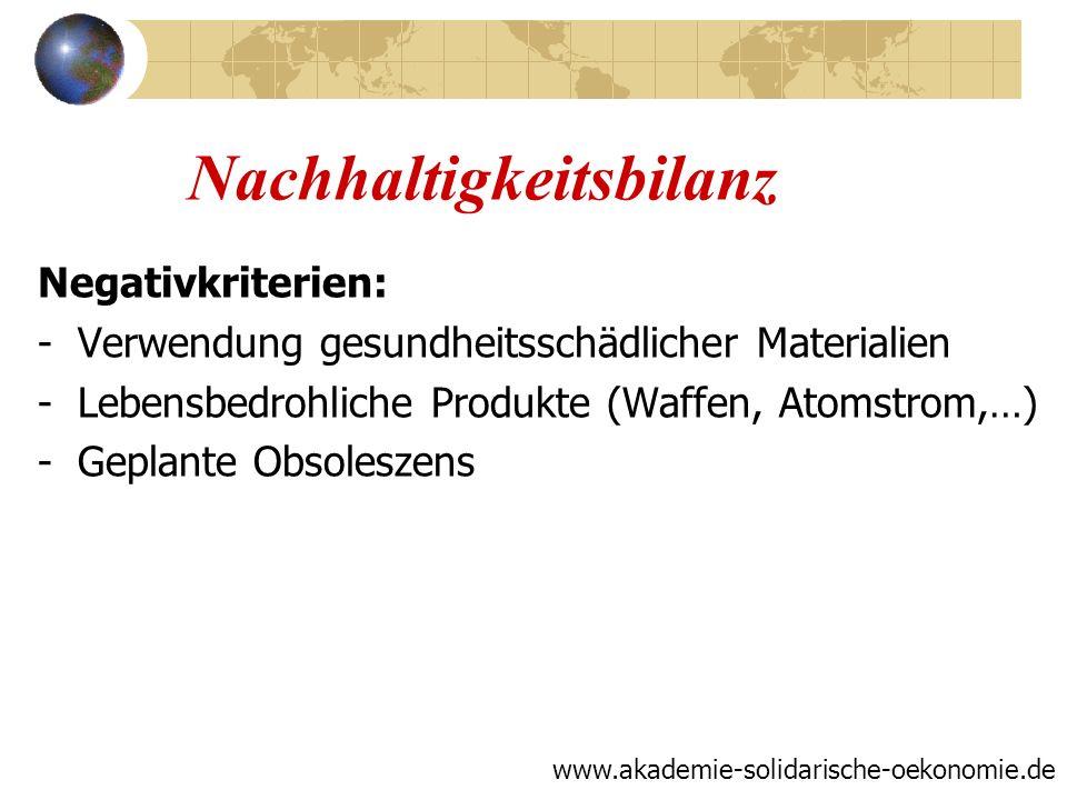 Nachhaltigkeitsbilanz Negativkriterien: -Verwendung gesundheitsschädlicher Materialien -Lebensbedrohliche Produkte (Waffen, Atomstrom,…) -Geplante Obs