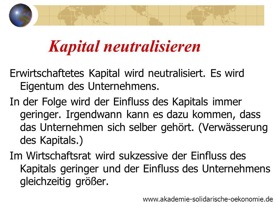 Kapital neutralisieren Erwirtschaftetes Kapital wird neutralisiert. Es wird Eigentum des Unternehmens. In der Folge wird der Einfluss des Kapitals imm