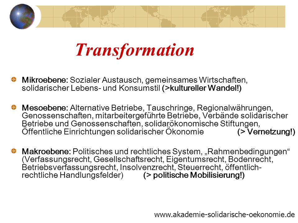 Transformation Mikroebene: Sozialer Austausch, gemeinsames Wirtschaften, solidarischer Lebens- und Konsumstil (>kultureller Wandel!) Mesoebene: Altern