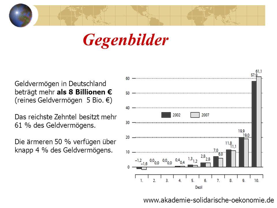 Gegenbilder www.akademie-solidarische-oekonomie.de Geldvermögen in Deutschland beträgt mehr als 8 Billionen (reines Geldvermögen 5 Bio. ) Das reichste