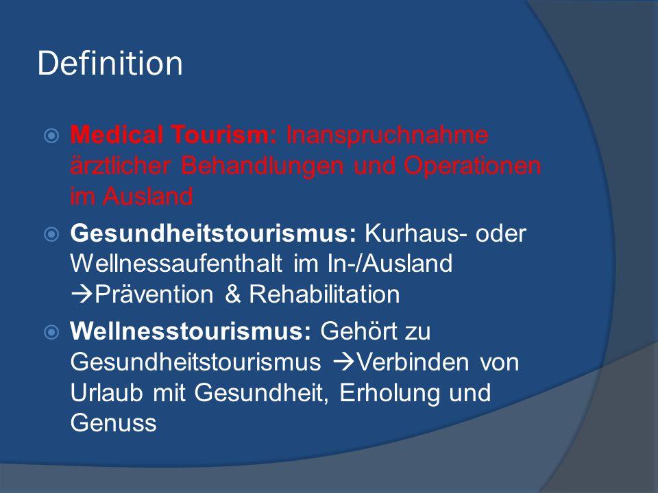 Definition Medical Tourism: Inanspruchnahme ärztlicher Behandlungen und Operationen im Ausland Gesundheitstourismus: Kurhaus- oder Wellnessaufenthalt im In-/Ausland Prävention & Rehabilitation Wellnesstourismus: Gehört zu Gesundheitstourismus Verbinden von Urlaub mit Gesundheit, Erholung und Genuss