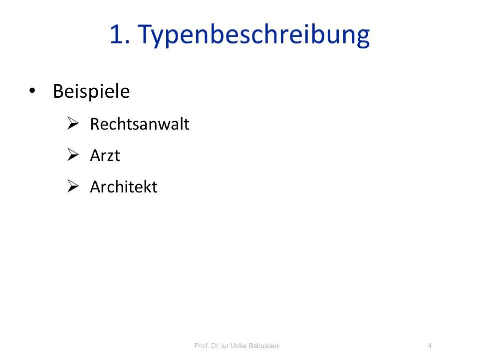 Beispiele Rechtsanwalt Arzt Architekt 1. Typenbeschreibung Prof. Dr. iur Ulrike Babusiaux4
