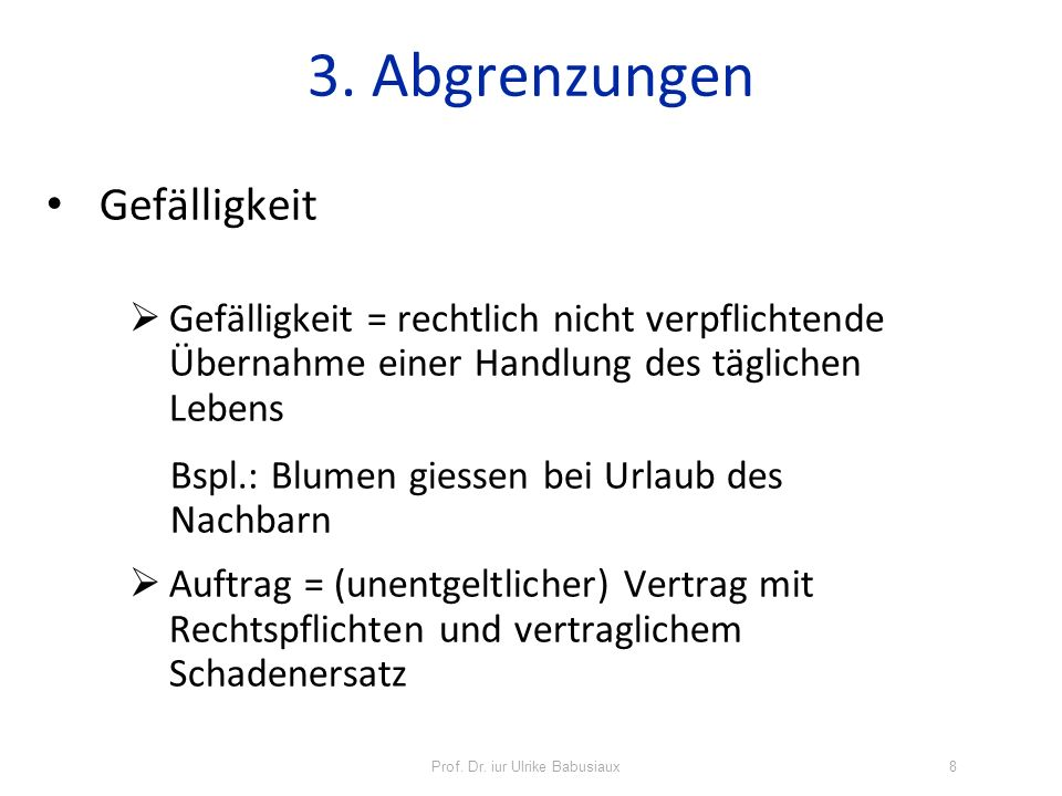 Prof.Dr. iur Ulrike Babusiaux39 8. Haftung für Gutachten Vorfrage: Werkvertrag (Art.