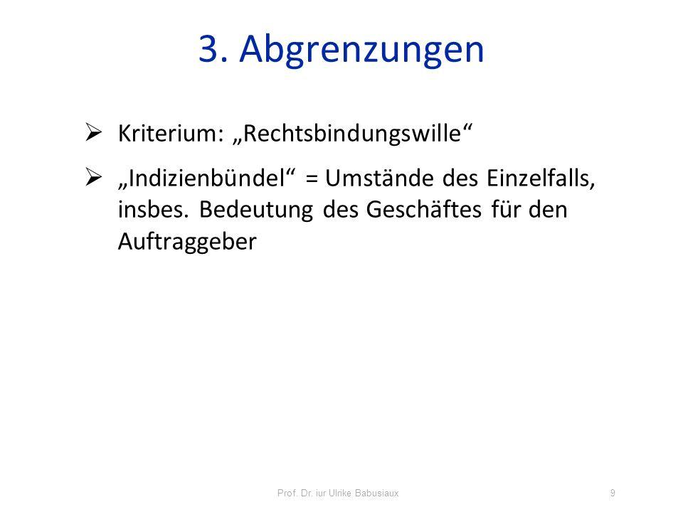 Kriterium: Rechtsbindungswille Indizienbündel = Umstände des Einzelfalls, insbes. Bedeutung des Geschäftes für den Auftraggeber 3. Abgrenzungen Prof.
