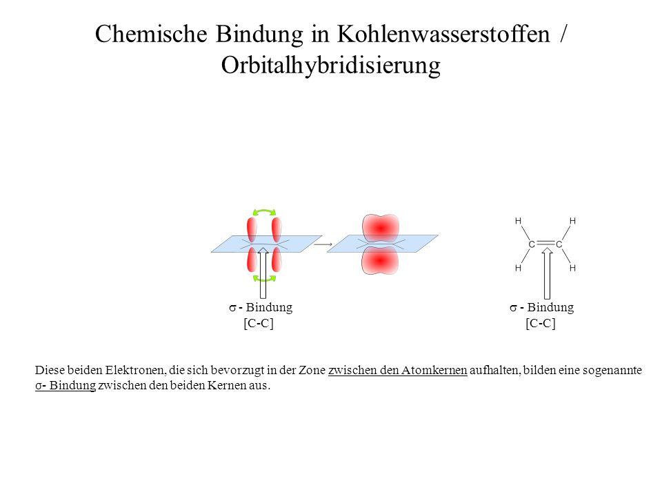 - Bindung Chemische Bindung in Kohlenwasserstoffen / Orbitalhybridisierung - Bindung Diese beiden Elektronen, die sich bevorzugt in der Zone zwischen