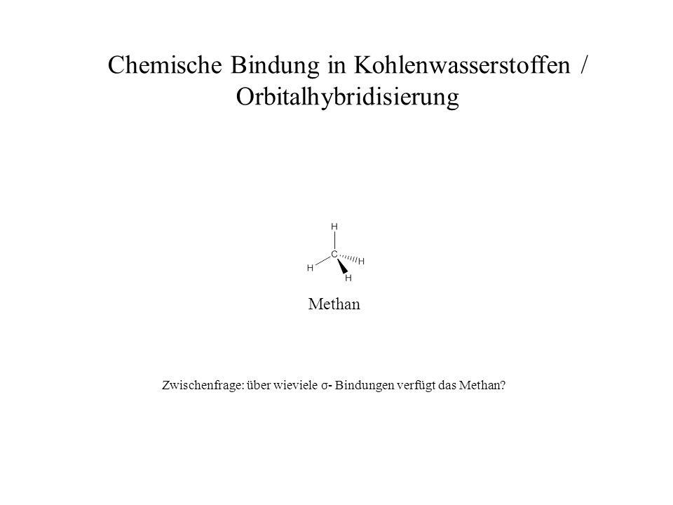 Methan Chemische Bindung in Kohlenwasserstoffen / Orbitalhybridisierung Zwischenfrage: über wieviele σ - Bindungen verfügt das Methan?