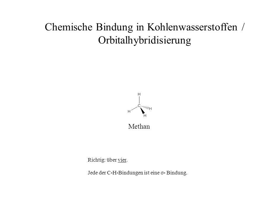 Methan Chemische Bindung in Kohlenwasserstoffen / Orbitalhybridisierung Richtig: über vier. Jede der C-H-Bindungen ist eine σ - Bindung.