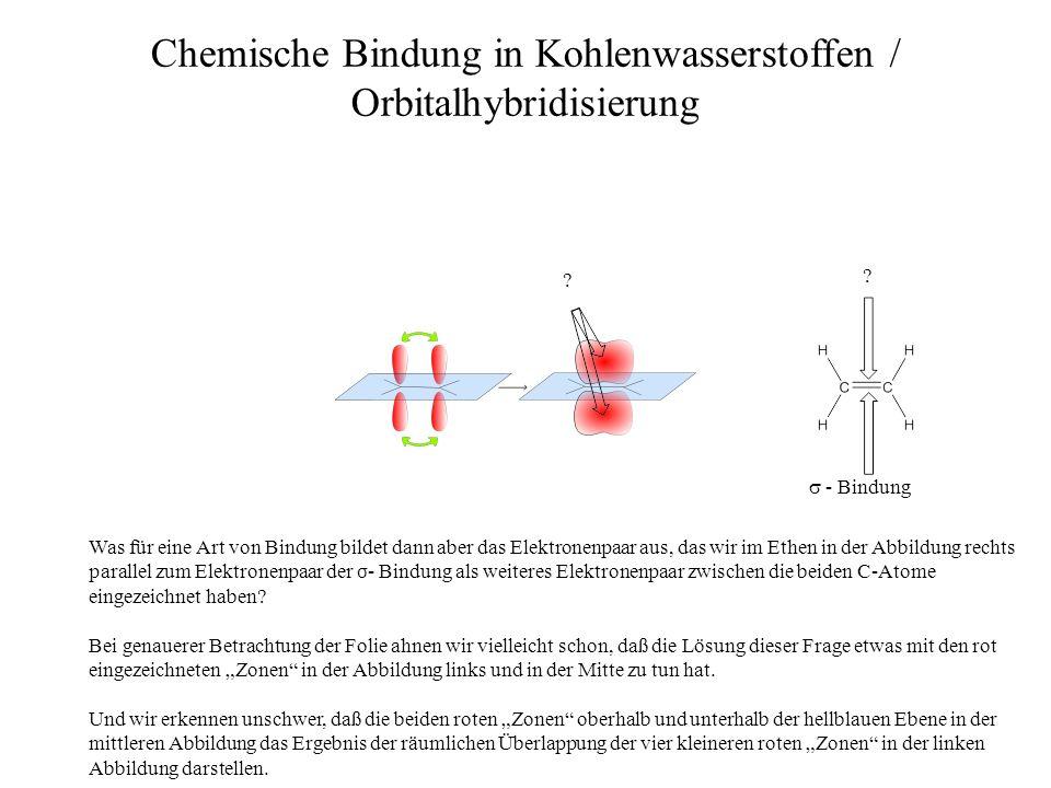 ? ? Chemische Bindung in Kohlenwasserstoffen / Orbitalhybridisierung - Bindung Was für eine Art von Bindung bildet dann aber das Elektronenpaar aus, d